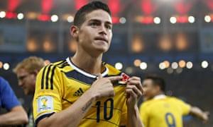 James Rodriguez celebrates a goal