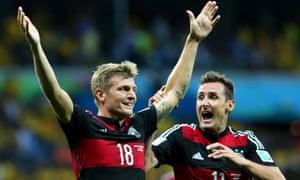 Toni Kroos, left, and Miroslav Klose of Germany