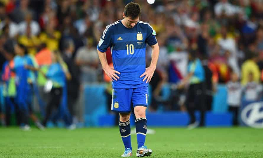 Argentina's captain Lionel Messi dejected