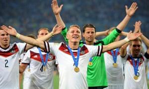 Bastian Schweinsteiger of Germany celebrates