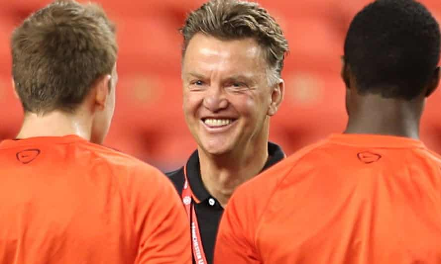 Louis van Gaal with Manchester United in Denver