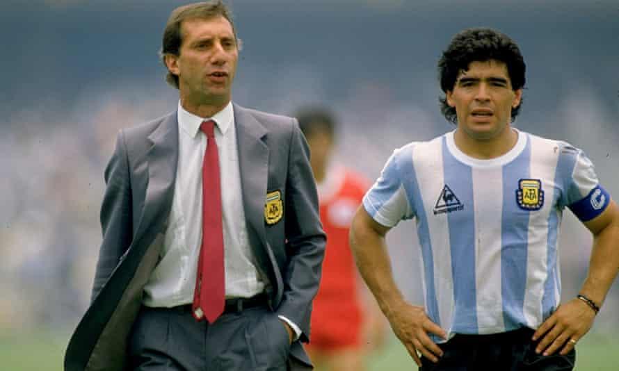 Carlos Bilardo and Diego Maradona of Argentina