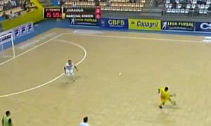 Márcio scores with a backheel lob. Photograph: Screengrab