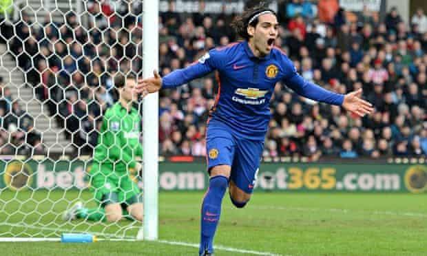 Radamel Falcao celebrates Manchester United's equaliser in their 1-1 draw at the Britannia Stadium.