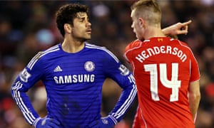 Chelsea's Diego Costa, left, and Jordan Henderson of Liverpool