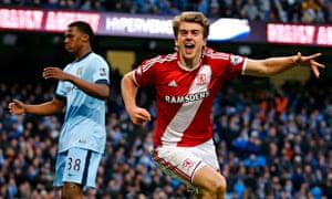 Middlesbrough's Patrick Bamford v Manchester City