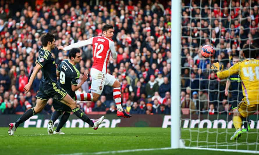 Olivier Giroud scores his second goal to complete Arsenal's FA Cup victory over Middlesbrough.