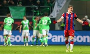Bayern Munich's Bastian Schweinsteiger shows his frustration in the defeat at Wolfsburg