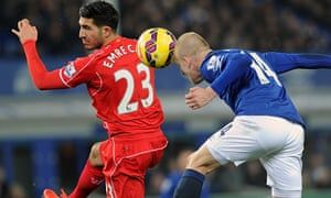 Steven Naismith of Everton v Emre Can of Liverpool