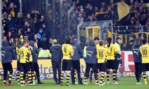 Borussia Dortmund's players thank their fans