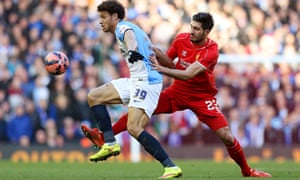 Blackburn's Rudy Gestede shields the ball from Emre Can of Liverpool in the draw at Anfield.