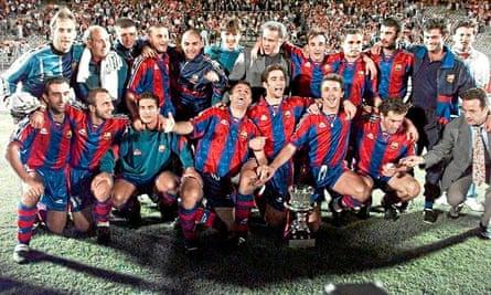 Barcelona celebrate winning the Spanish Super Cup in 1996