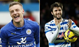 Leicester City's Jamie Vardy and QPR's Charlie Austin