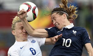 England's Laura Bassett, left, is elbowed in the face by the French midfielder Camille Abily.