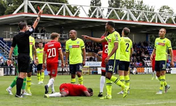 Sahr Kabba of Welling grounded v Tranmere Rovers