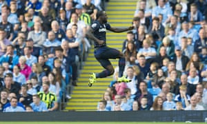 West Ham's Victor Moses celebrates giving his side the lead after just six minutes against Mancheste