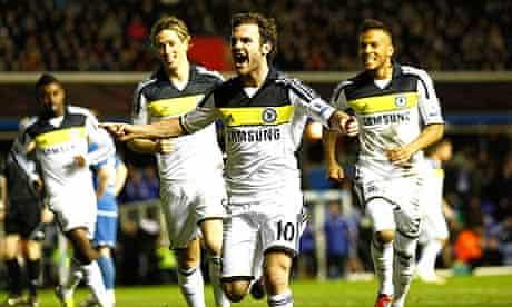 Juan Mata celebrates after scoring Chelsea's first goal.