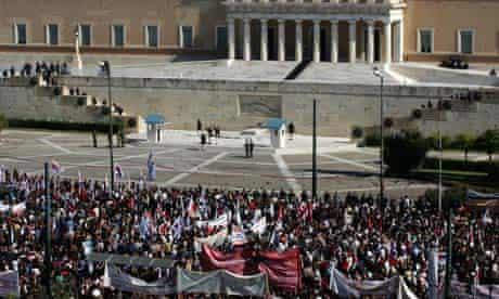 demonstrators athens austerity measures