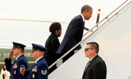 Barack Obama  Michelle Obama depart Washington