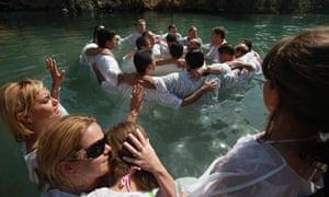 Brazilian Christian Pilgrims Baptised River Jordan