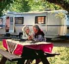 elderly couple caravan