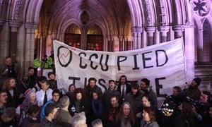 Protestors Occupy London high court