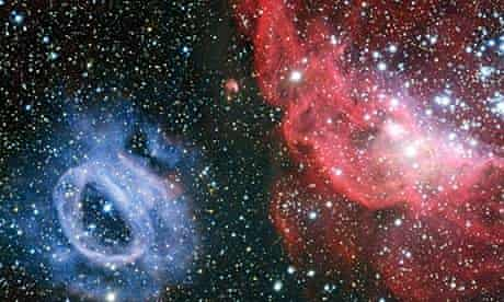ESO TELESCOPE CAPTURES TWO BRILLIANT GAS CLOUDS IN MAGALLANIC CLOUD
