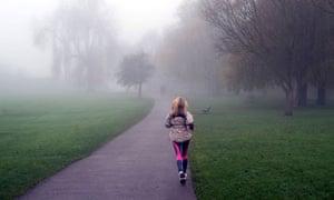 fog woman jogging Hampstead Heath