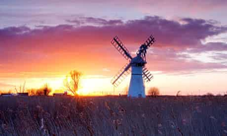 Thurne Mill at sunset on the Norfolk Broads.