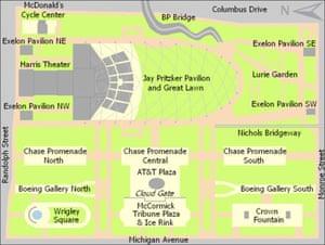 Chicago Millenium Park map