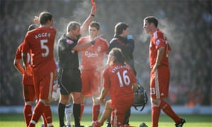 Referee gives red card in Liverpool v Everton, Anfield, 2010