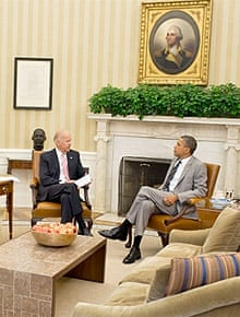 President Obama and Vice-president Biden in the Oval Office, with apples