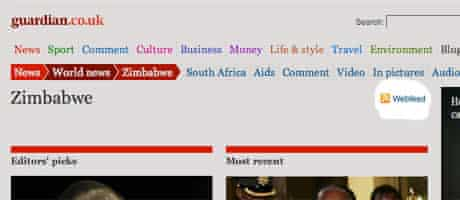 Screenshot showing location of webfeed link