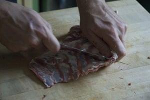 Gallery Butchering a lamb carcass: Lamb. Front rib plate