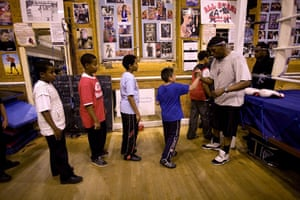 Gallery All Stars Boxing Gym: Junior coach Tyrone Forbes with young boxers