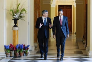 Gallery Great Scots: Barack Obama walks to a meeting with Gordon Brown
