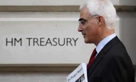Alistair Darling leaves the Treasury in London