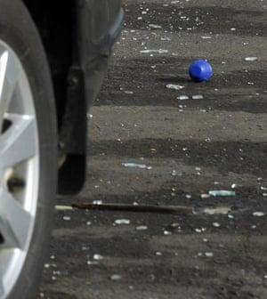 Gallery Mumbai terror attacks: A live hand grenade lies on the road near the Taj hotel in Mumbai
