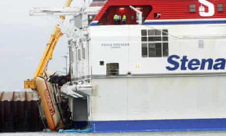 The Stena HSS ferry stranded in Stranraer harbour with a lorry hanging out of the back