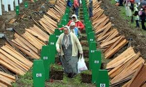 Burial in Srebrenica of 534 Bosnian Muslims