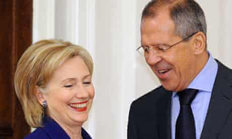 US Secretary of State Hillary Clinton with Russian foreign minister Sergei Lavrov in Moscow