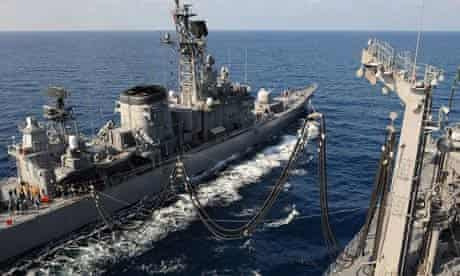 Japan Maritime Self Defense Force (JMSDF) ship 'Mashu' conducts a refueling exercise