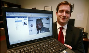 Assistant US attorney Michael Scoville displays the Facebook page of fugitive Maxi Sopo