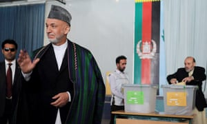 Hamid Karzai after voting in the elections