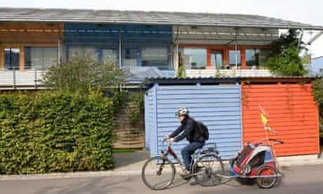 A cyclist in Vauban, Germany