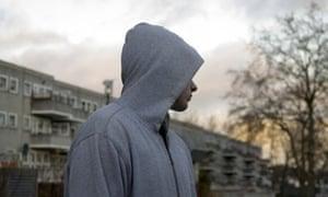Teenager in hoodie, tory britain
