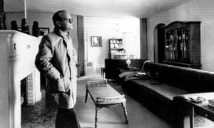 Truman Capote in the living room of the Clutter ranch