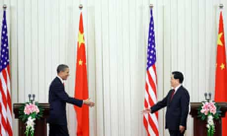US President Barack Obama with Chinese President Hu Jintao in Beijing, China
