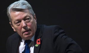 Alan Johnson pauses during an event on security at the RSA in central London