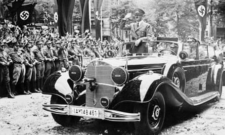 Hitler Riding in his mercedes car Past Nazi Followers